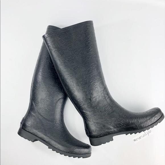 6484fcba0e4f7 UGG Tall Rubber Black Rain Boots Size 9. M 5b8efbce4cdc307fe75bde11